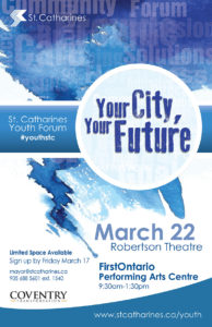 St. Catharines Youth Forum poster, March 22, 2017