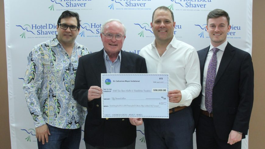 Mayor's Invitational Golf Tournament presents $50,000  to Hotel Dieu Shaver Health and Rehabilitation Foundation