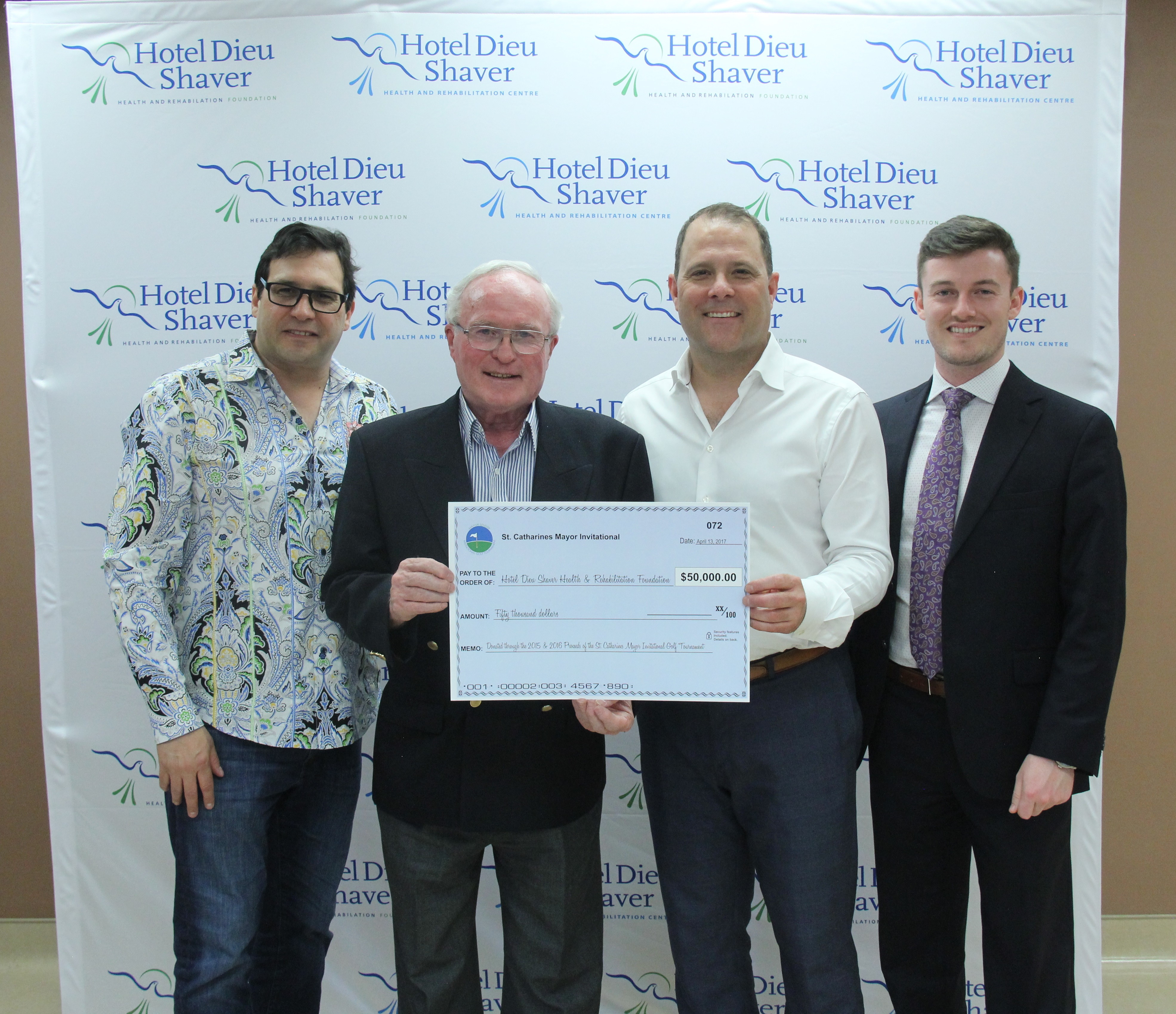 Mayor's Invitational Golf Tournament presents $50,000  to Hotel Dieu Shaver Health and Rehabilitation Foundation